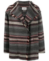 Étoile Isabel Marant Josia Striped Knit Coat - Grey