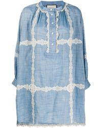 Gucci Robe ajustée à détail de laçage - Bleu