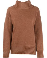 Pringle of Scotland Guernsey Stitch Roll Neck Sweater - Brown