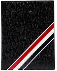 Thom Browne ストライプ パスポートケース - ブラック
