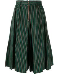 See By Chloé Striped Wide-leg Shorts - Black