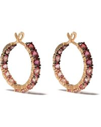 Brumani 18kt Rose Gold Topaz Hoop Earrings - Pink