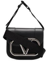 Valentino Garavani Val Mtl Logo Lthr Xbdy Bag Black - ブラック