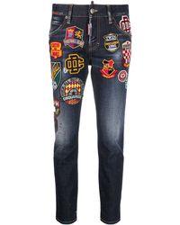 DSquared² Jeans mit Logo-Patch - Blau