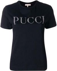 Emilio Pucci ラインストーンロゴ Tシャツ - ブラック