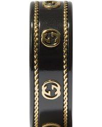 Gucci Кольцо Из Желтого Золота С Логотипом Interlocking G - Черный