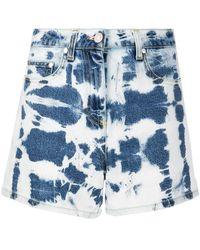 MSGM Shorts denim con fantasia tie-dye - Blu