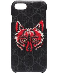 Gucci IPhone 8-Hülle mit Wolfsmotiv - Schwarz