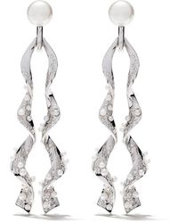 Tasaki 18kt White Gold Diamond Cascade Earrings - Multicolour