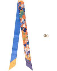 Ferragamo Foulard à imprimé abstrait - Bleu