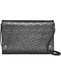Burberry - Small Monogram Leather Bag With Detachable Strap - Lyst