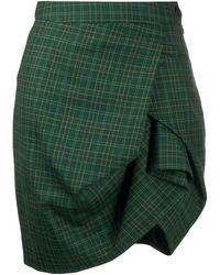 Vivienne Westwood Anglomania Asymmetric Plaid Skirt - Green