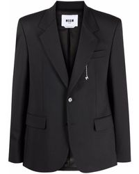 MSGM ノッチドラペル シングルジャケット - ブラック