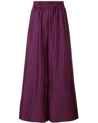 La DoubleJ Striped Flared Trousers - Синий