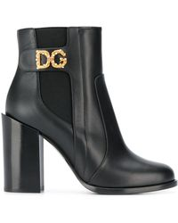 Dolce & Gabbana Laarzen Verfraaid Met Logo - Zwart