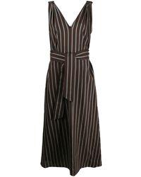 Brunello Cucinelli - Платье В Полоску С Поясом - Lyst