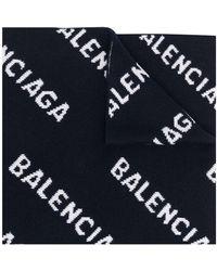 Balenciaga Schal mit Logo-Intarsie - Blau