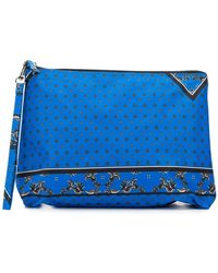 Ganni Floral Print Makeup Bag - Blue