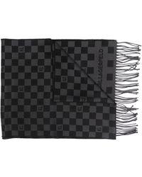 Karl Lagerfeld チェッカー スカーフ - グレー