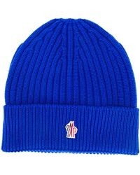 3 MONCLER GRENOBLE Logo Embroidered Beanie Hat - Синий