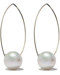 Mizuki - 14kt Gold Pearl Hoop Earrings - Lyst