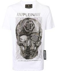 Philipp Plein T-Shirt mit verziertem Totenkopf - Weiß