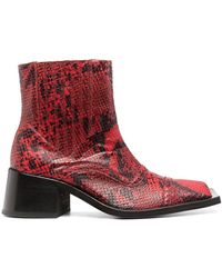 Martine Rose Embossed Snakeskin Effect Boots - Red