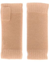N.Peal Cashmere Fingerless Cashmere Gloves - Natural