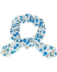DANNIJO - White And Blue Nina Crystal Floral Print Cotton Bracelet - Lyst