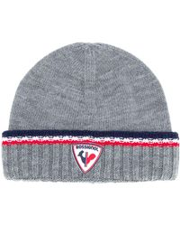 Rossignol Logo Patch Knitted Beanie Hat - Gray