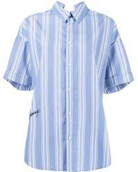 Izzue Pinstriped Short Sleeve Shirt - Blue