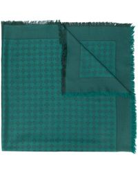 Tory Burch Jacquard Silk-wool Motif Scarf - Green
