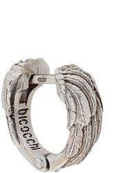 Emanuele Bicocchi Wing Textured Hoop Earring - Metallic