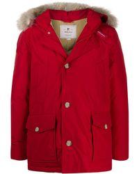 Woolrich Daunenmantel mit Kapuze - Rot