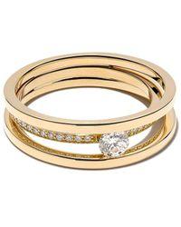 Georg Jensen 18kt Yellow Gold Halo Brilliant Cut Diamond Solitaire Ring - Metallic