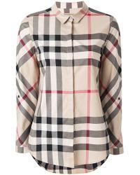 Burberry - Stretch Cotton Check Shirt - Lyst