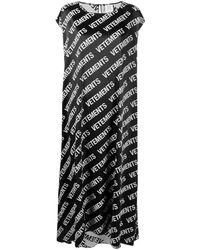 Vetements Oversized Logo Print T-shirt Dress - Black