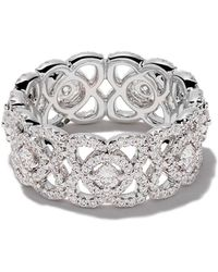 De Beers 18kt White Gold Enchanted Lotus Diamond Band - Wit