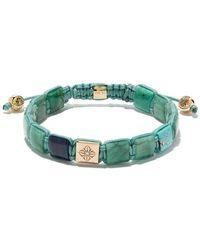 Shamballa Jewels 18kt Yellow Gold, Diamond And Turquoise Lock Beaded Bracelet - Blue