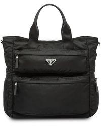 Prada Bolso shopper con placa del logo - Negro