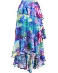 Marchesa notte Floral-print Tiered Skirt - Blue