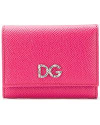 Dolce & Gabbana Crystal Embellished Dauphine Wallet - Pink