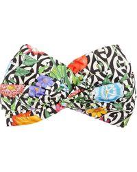 Gucci Silk Headband With Flora And G Rhombus Print - Black