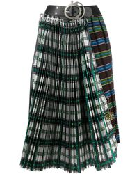 Chopova Lowena Contrast Check Skirt - Green