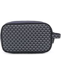 Emporio Armani Logo Print Zipped Wash Bag - Blue