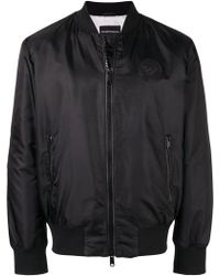 Emporio Armani - Leather Logo Patch Bomber Jacket - Lyst