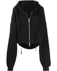 Unravel Project Cropped Zip-up Hoodie - Black