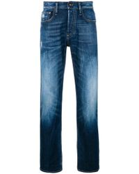 Denham Mid-rise Ice Blasted Jeans - Blue
