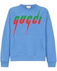 Gucci Sweater Met Mes Print - Blauw