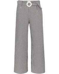 Solid & Striped Gingham Wide-leg Pants - Black